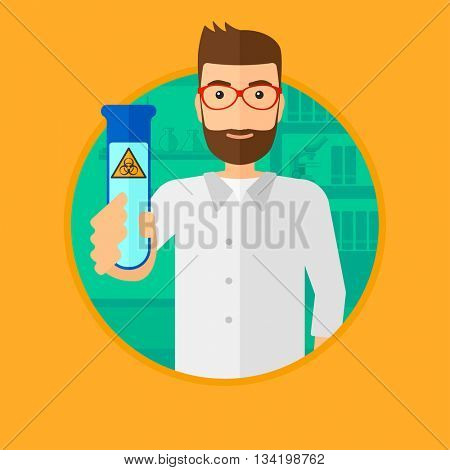 A scientist with the beard holding a test tube with biohazard sign. Scientist examining a test tube in a chemical laboratory. Vector flat design illustration in the circle isolated on background.