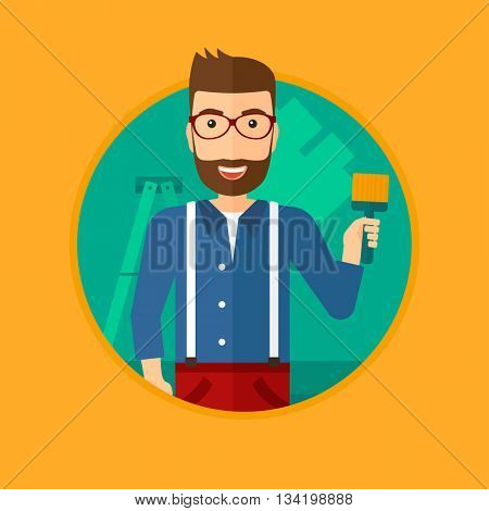 A hipster painter with the beard holding a paint brush. Painter painting walls with paint brush at home. House renovation concept. Vector flat design illustration in the circle isolated on background.