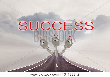 Keys and text think plan do and success on highway road on big cloud sky business concept way to success