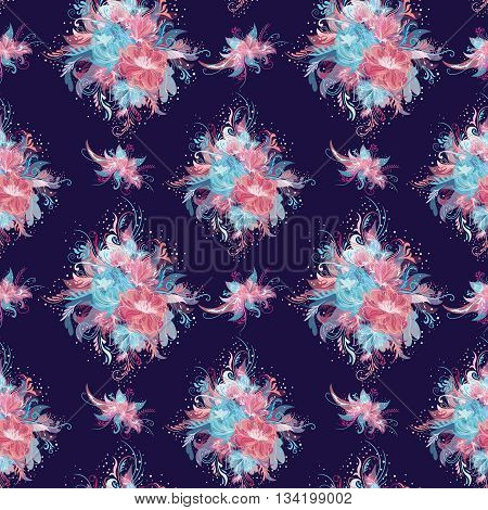 Seamless tile-able floral texture with rose and blue flower bouquets and swirls on deep blue background