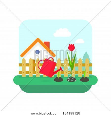 Gardening concept vector, flat cartoon village home and garden with flowers landscape