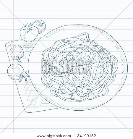 Spaghetti with basil and tomatoes on plate on napkin. Spaghetti hand drawn on notebook paper in line background. Spaghetti  vector sketch illustration.