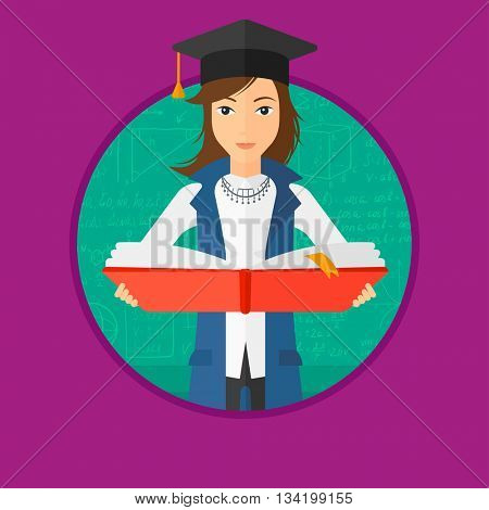 Graduate with an open book in hands. Graduate in graduation cap. Graduate on a background of green blackboard with mathematical equations. Vector flat design illustration in the circle.