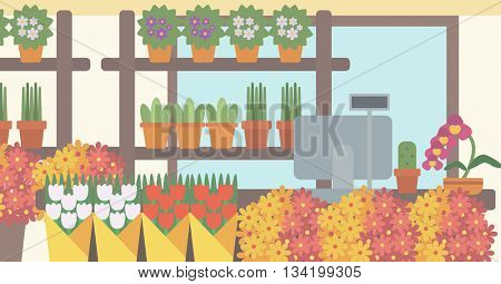 Background of flower shop. Counter with cash box in flower shop vector flat design illustration. Horizontal layout.