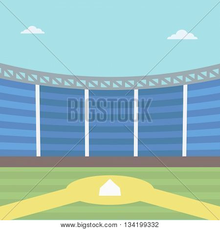 Background of baseball stadium. Baseball field vector flat design illustration. Baseball diamond. Sport concept. Square layout.