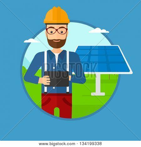 A hipster worker of solar power plant. Worker with tablet computer at solar power plant. Worker checking solar panel setup. Vector flat design illustration in the circle isolated on background.