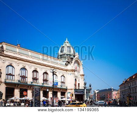 PRAGUE, CZECH REPUBLIC - April 26, 2015 : Tourists on foot Street in old town PRAGUE in Czech Republic