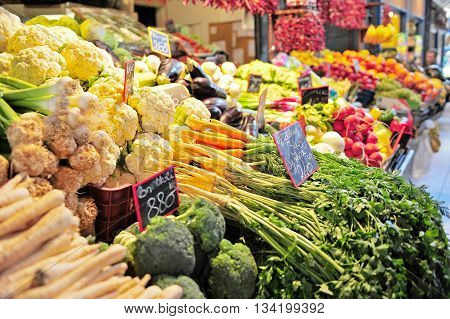 Vegetables assortie in the food market of Budapest