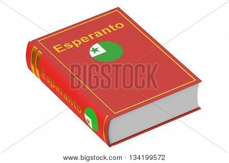 Esperanto language textbook 3D rendering isolated on white background