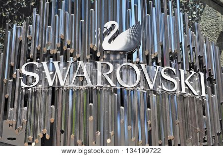 VIENNA AUSTRIA - JUNE 6: Logotype of Swarovski in Vienna on June 6 2016. Swarovski is a jewerly maker and retailer founded in Austria.