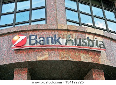 VIENNA AUSTRIA - JUNE 6: Logotype of Bank Austria in Vienna on June 6 2016.