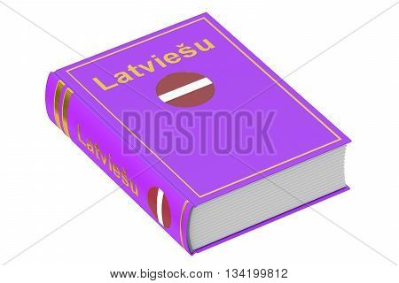 Latvian language textbook 3D rendering isolated on white background