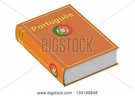 Portuguese language textbook 3D rendering isolated on white background