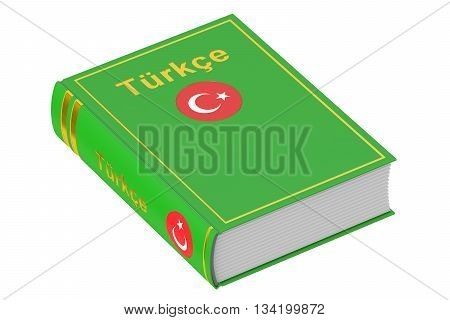 Turkish language textbook 3D rendering isolated on white background