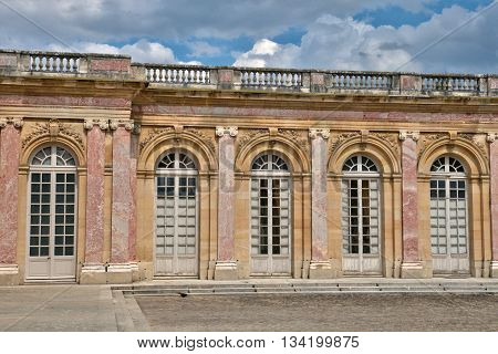 Versailles France - august 19 2015 : the Grand Trianon in the Marie Antoinette estate in the parc of Versailles Palace