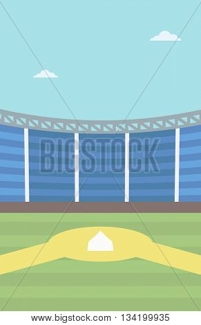 Background of baseball stadium. Baseball field vector flat design illustration. Baseball diamond. Sport concept. Vertical layout.