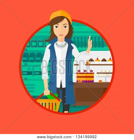 Woman holding basket with healthy food and refusing junk food. Woman choosing healthy food and rejecting junk food in supermarket. Vector flat design illustration in the circle isolated on background.