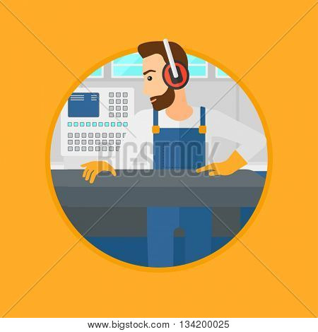 Hipster man with the beard working on metal press machine. Worker in headphones operating metal press machine at factory workshop. Vector flat design illustration in the circle isolated on background.