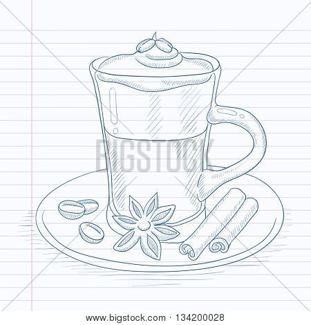Coffee cup with anise, sticks of cinnamon and coffee beans on saucer. Coffee hand drawn on notebook paper in line background. Coffee vector sketch illustration.