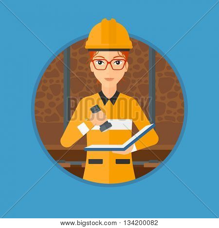 Miner checking documents with the flashlight. Mine worker in hard hat. Miner in the coal mine. Vector flat design illustration in the circle isolated on background.