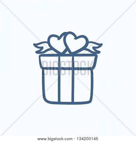 Gift box with hearts vector sketch icon isolated on background. Hand drawn Gift box with hearts icon. Gift box with hearts sketch icon for infographic, website or app.