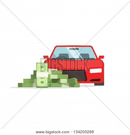 Car money vector illustration isolated on white, concept of car expenses, auto savings, financial success, loan,