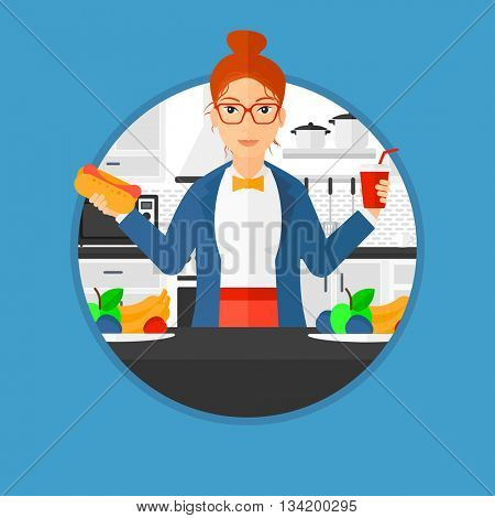 Woman eating fast food. Woman holding fast food in hands in the kitchen. Woman choosing between fast food and healthy food. Vector flat design illustration in the circle isolated on background.