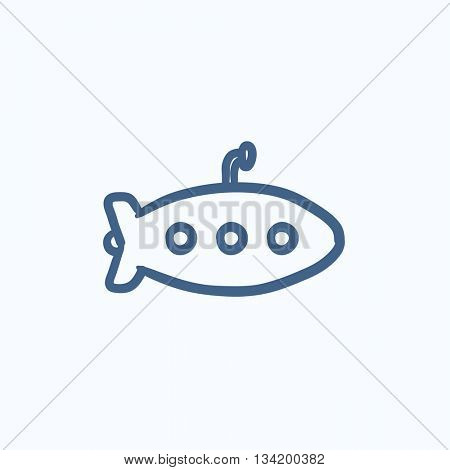 Submarine vector sketch icon isolated on background. Hand drawn Submarine icon. Submarine sketch icon for infographic, website or app.