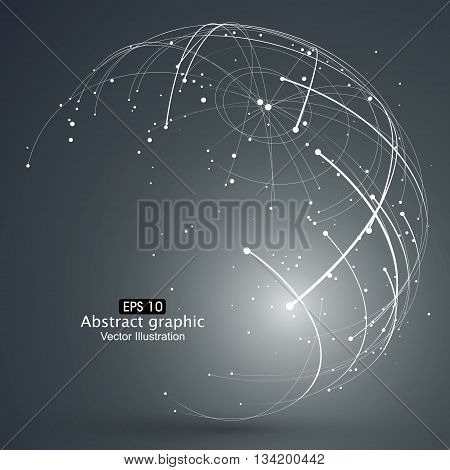 Point and curve constructed the sphere wireframe, ,technological sense abstract illustration.