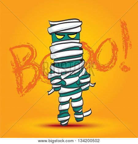 Vector : Mummy Walk On Yellow Background With Boo Word, Halloween Cartoon.