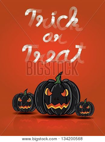 Black Pumpkins Floating On Red Background With Trick Or Treat Word,halloween Set