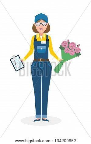 Delivery woman with flowers. Fast transportation. Isolated cartoon character on white background. Postwoman, courier with clipboard and bouquet.
