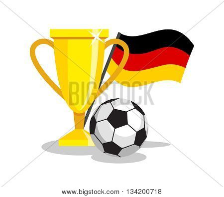 Football or soccer ball with cup and german flag on white background. Concept of championship, league, team sport. Concept of prize, leadership, winning and success. Winner award.