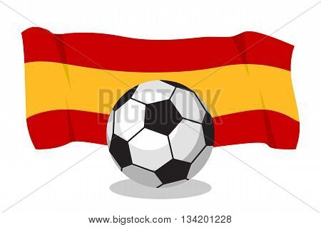 Football or soccer ball with spanish flag on white background. World cup. Cartoon ball. Concept of championship, league, team sport. Game for kids and adults. Cheering and sport fans concept.