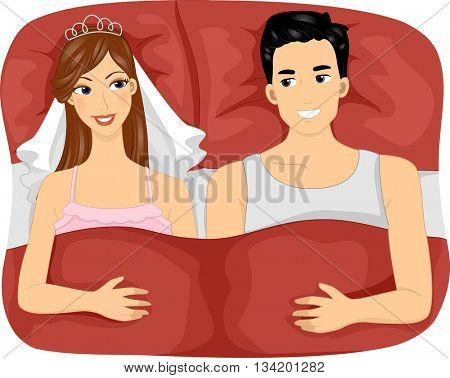 Illustration of a Newly Married Couple Lying in Bed