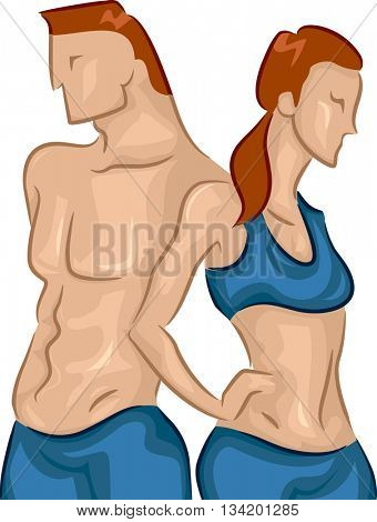 Illustration of a Fit Young Couple Standing Side by Side
