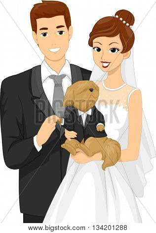Illustration of a Newly Married Couple Taking a Picture with Their Dog