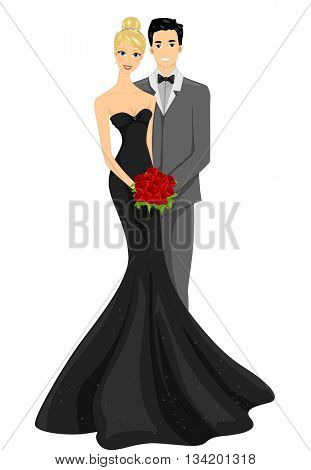 Illustration of a Newly Married Couple Striking a Pose