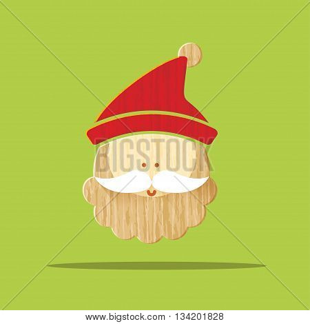 Vector : Christmas Wooden Icon, Cute Santa Claus Smile On Green Background