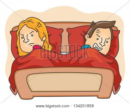 Illustration of a Married Couple Having an Argument in the Bedroom