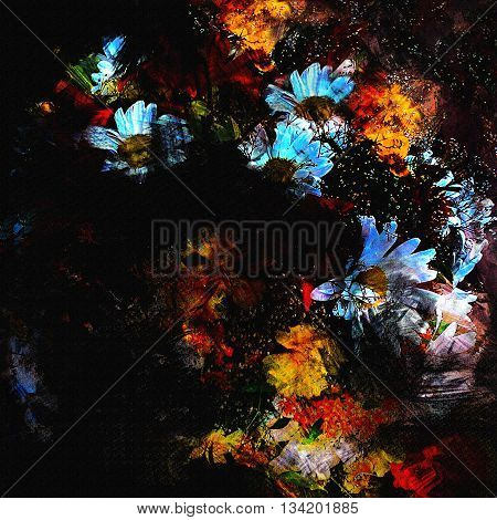 Stylized bouquet with chamomiles on grunge stained and striped black background