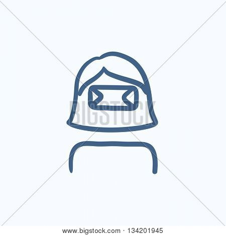 Woman in virtual reality headset vector sketch icon isolated on background. Hand drawn Woman in virtual reality headset icon. Virtual reality headset sketch icon for infographic, website or app.
