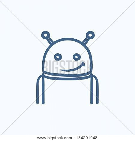 Robot vector sketch icon isolated on background. Hand drawn Robot icon. Robot sketch icon for infographic, website or app.