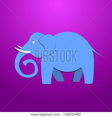 elephant in paper style in purpur background