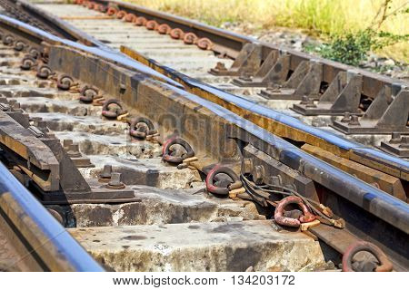 train tracks at the train depot,Point switching rails.