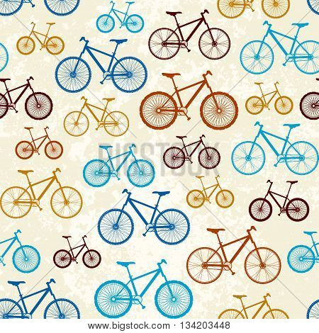 Seamless background pattern. Pattern of retro bicycles