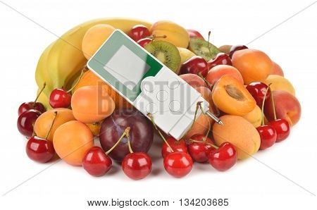 Nitrate tester and various fruits on white background