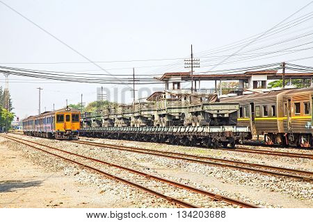 Freight trains on city cargo terminal in Thailand