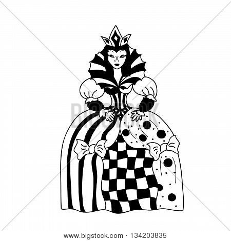 Queen Coloring page chess figurine isolated on white