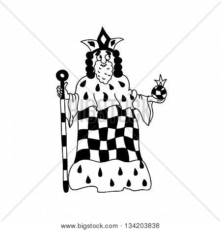 King Coloring page chess figurine isolated on white